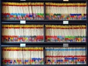 Colorful shelves of paperrecords at a dental clinic Credit: Tom Magliery License: CC BY-NC-SA 2.0