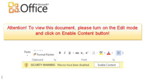 A screenshot of a simple macro lure that would drop ransomware if enabled