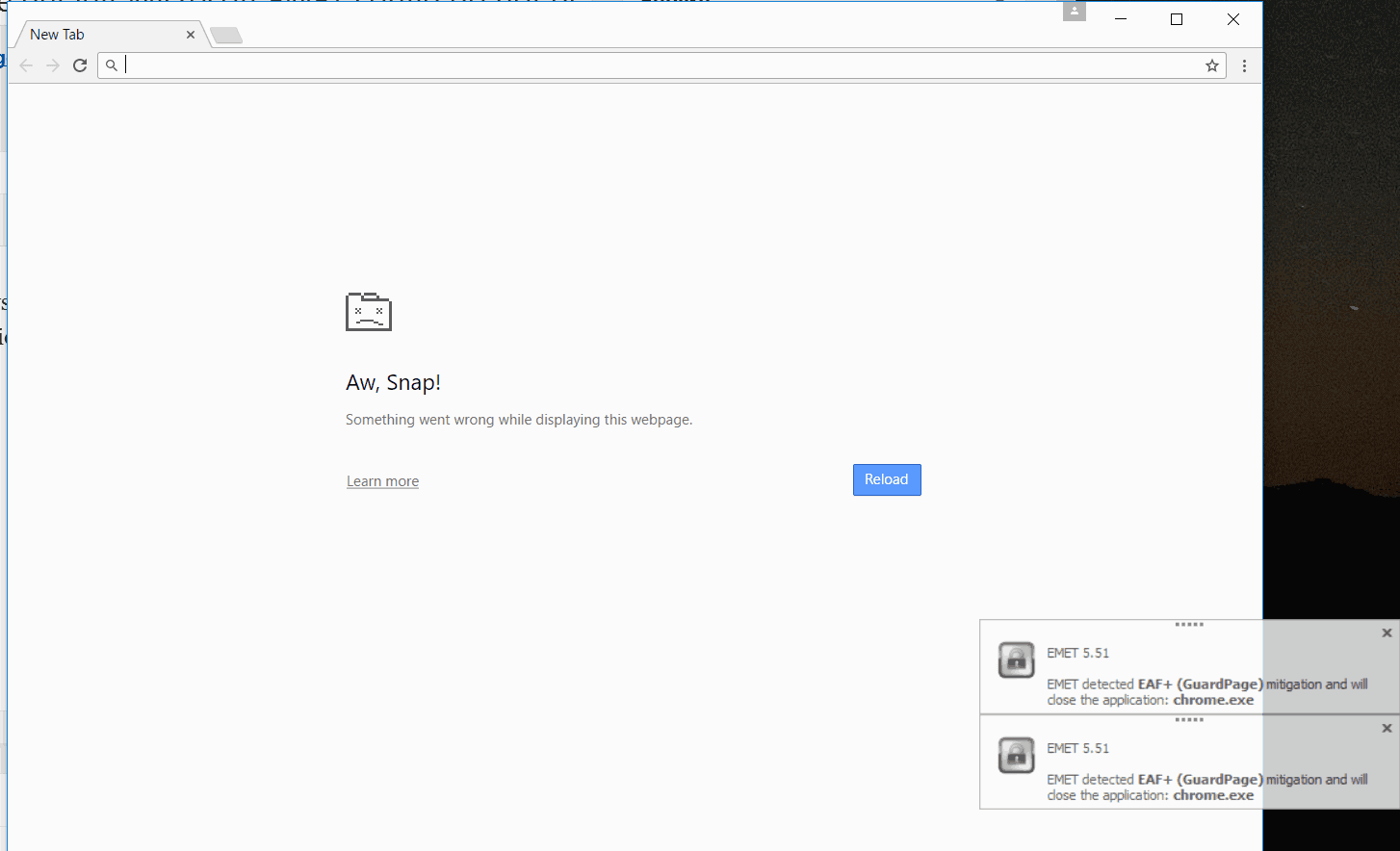 A screenshot of the EAF+ error generateted W=by the latest Google Chrome release when used with the defualt EMET config