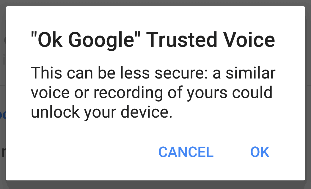 "user manually enables ""Ok Google"" Trusted Voice"