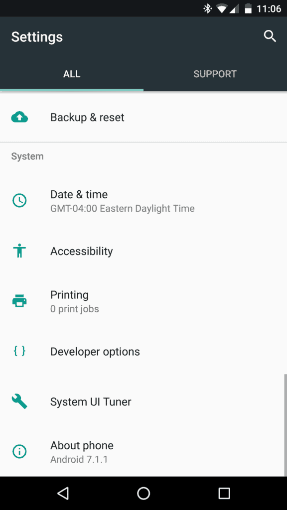 A screenshot of the settings app in Android 7.1 on a Nexus 6P, showing the support tab first seen on the Google Pixel phones