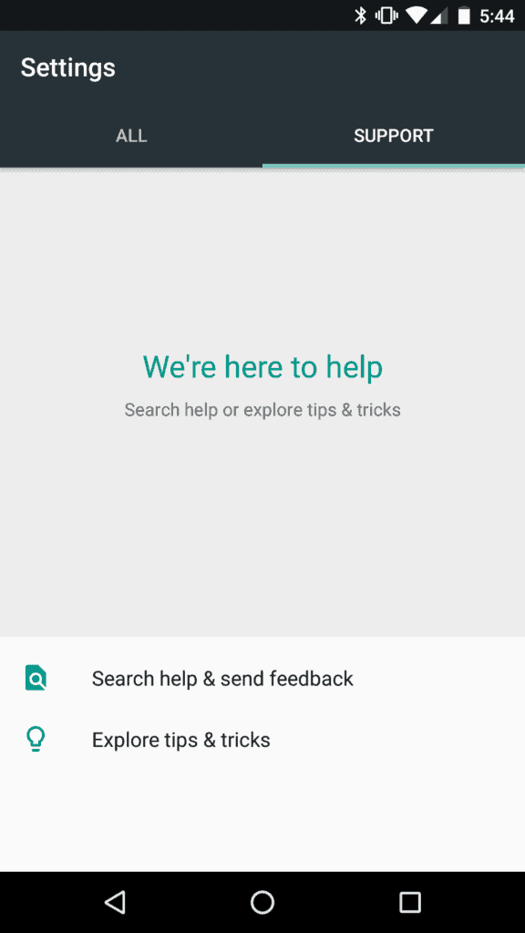A screenshot of the support tab in settings as seen on a Nexus 5X after the Google Support Services update