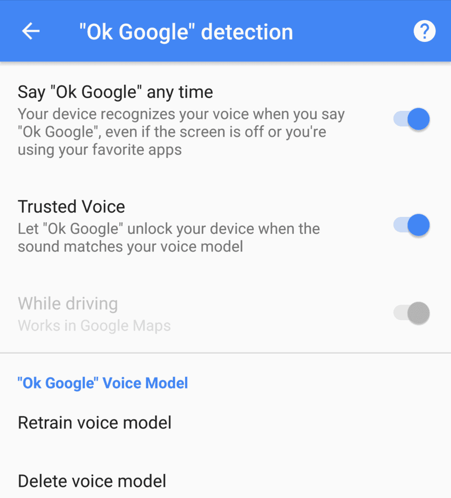 "A screenshot of ""Ok Google""detection settings"