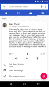 A screenshot of the Verizon Wireless Premium Visual Voicemail welcome message in the Android 7.1 Dialer on a Nexus 6P