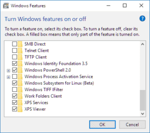 The Windows features dialog box in Windows 10