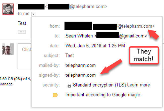 A screenshot showing how DKIM signature alignment can be verified using Gmail's UI