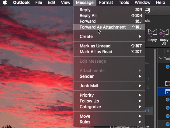 A screenshot of the Forward as attachment menu item in Outlook for macOS