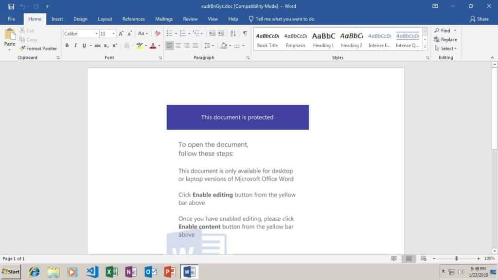 Screenshot of a Emotet dropper document open in Microsoft Word 2016.