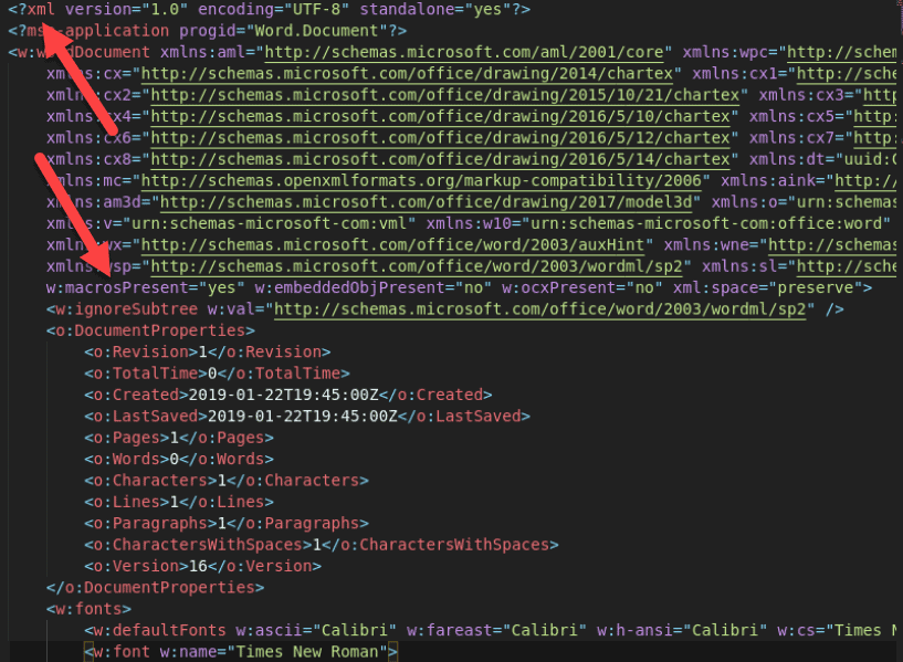 A screenshot of a malicious Microsoft Word document as a raw XML file after being run through a XML/HTML beautier