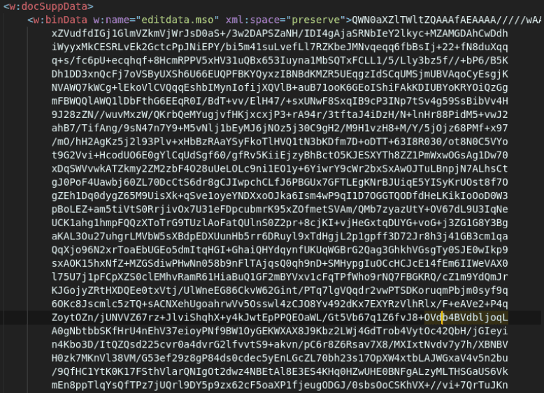 A screenshot of base64 encoded binary content in a Microsoft Word XML document