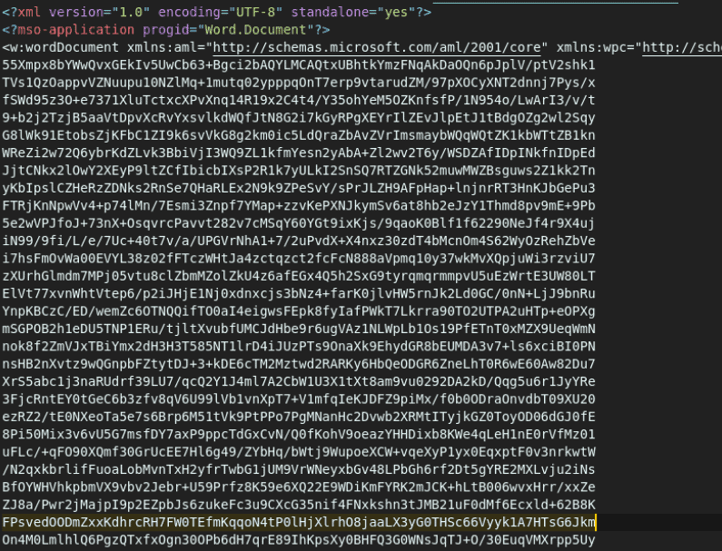 A screenshot of a malicious Microsoft Word document as a raw XML file
