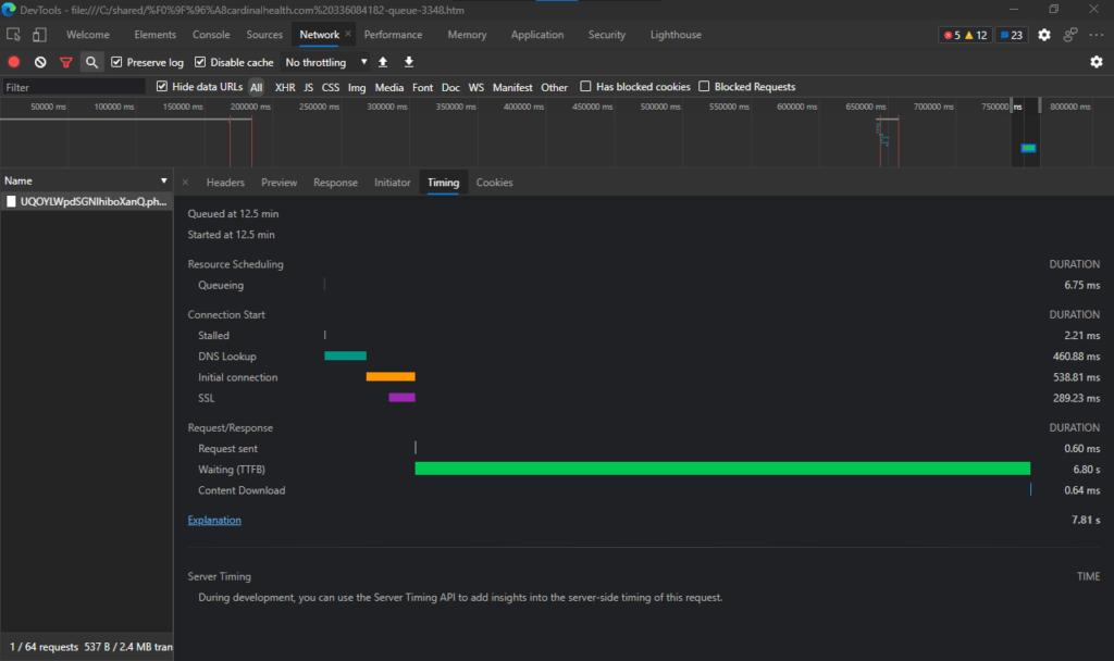 A screenshot of the Timing tab in Microsoft Edge developer tools